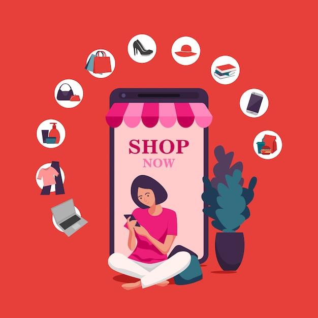 Online winkelen, mobiele app-sjablonen, platte conceptontwerp vector illustratie Premium Vector