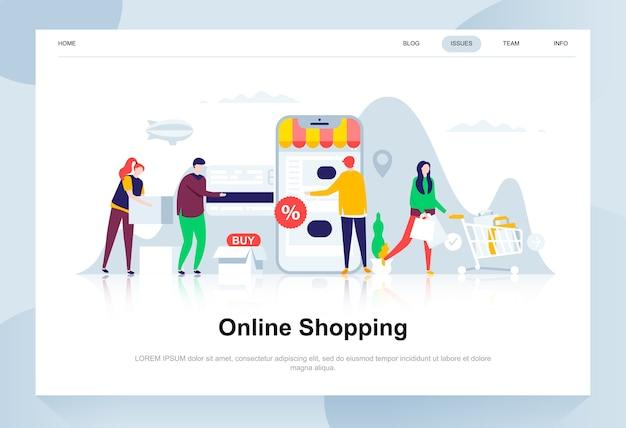 Online winkelen moderne platte ontwerpconcept. Premium Vector