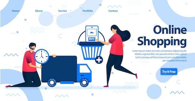 Online winkelen of e-commerce bestemmingspagina. Premium Vector