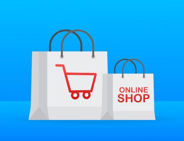 Online winkelen op de website. online winkel, winkelconcept. Premium Vector