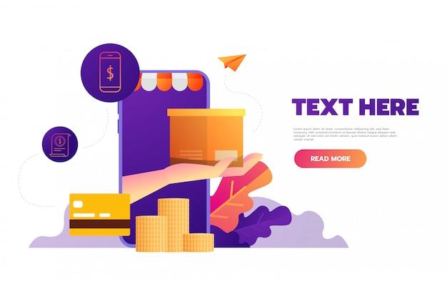 Online winkelen op mobiele app,, Premium Vector
