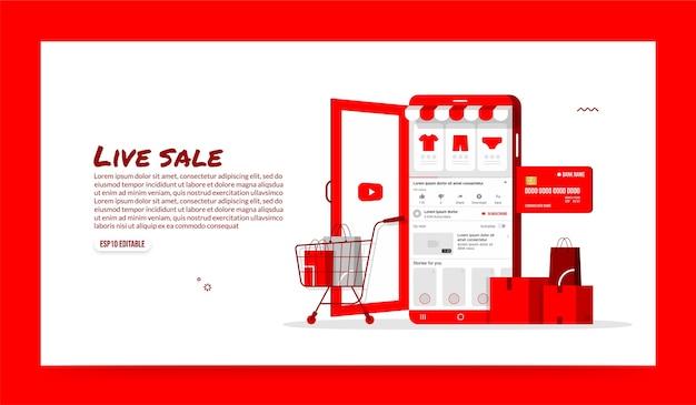 Online winkelen op sociale media-applicatie, mobiele winkel en e-commerce concept Premium Vector