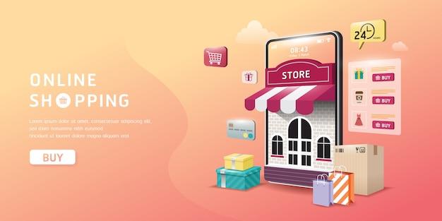 Online winkelen op website of mobiele applicatie Premium Vector