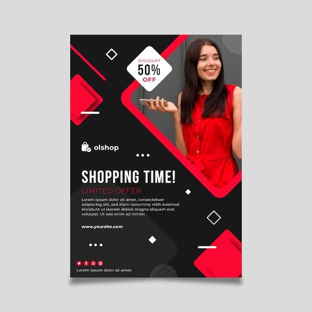 Online winkelen poster sjabloon Gratis Vector