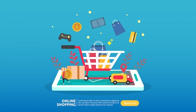 Online winkelen sjabloon voor spandoek. bedrijfsconcept voor verkoop e-commerce. Premium Vector