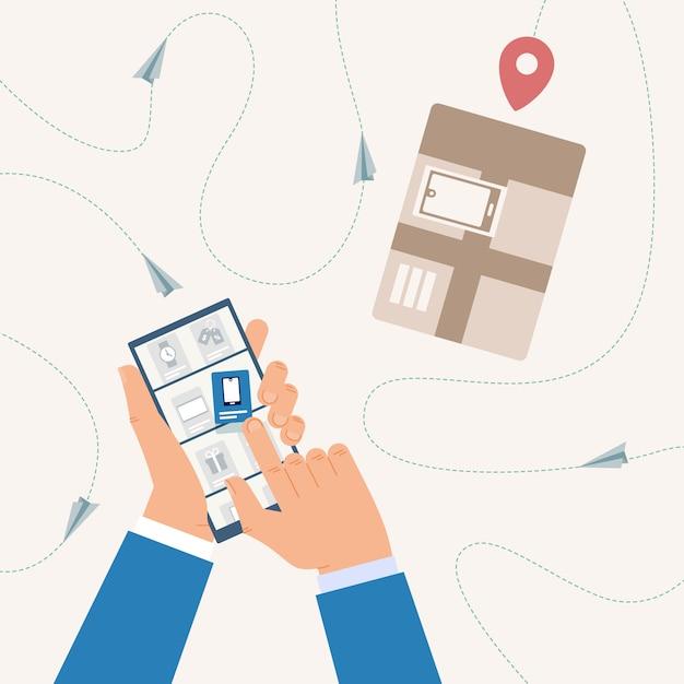 Online winkelen, trackingleverstatus volgen met mobiele-telefoonapplicatie Premium Vector