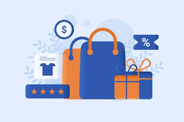 Online winkelen vector illustratie Premium Vector