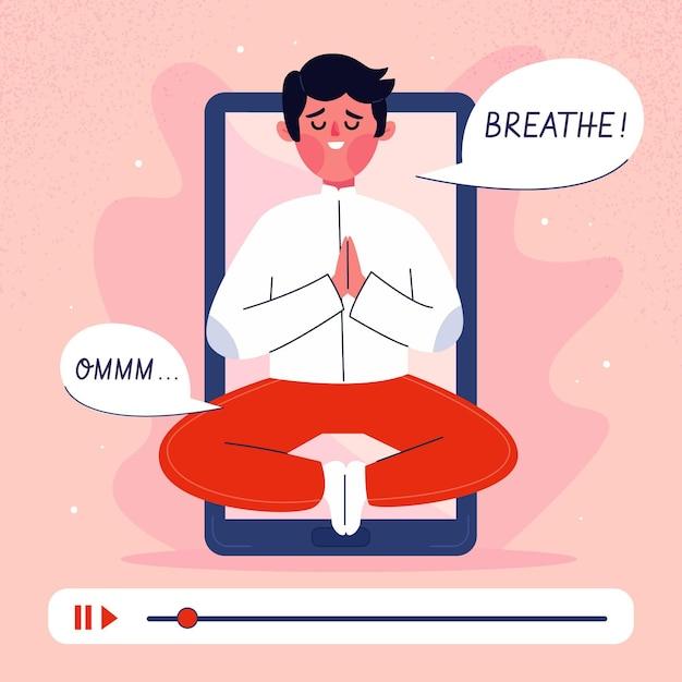 Online yogales concept in platte ontwerp Gratis Vector