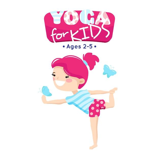 Online yogalessen voor kleine kinderen in blauw roze cartoon-stijllogo met lachend kind Gratis Vector