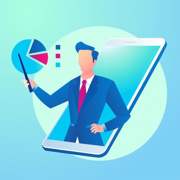 Online zakelijke consultatie-app met smartphone Premium Vector