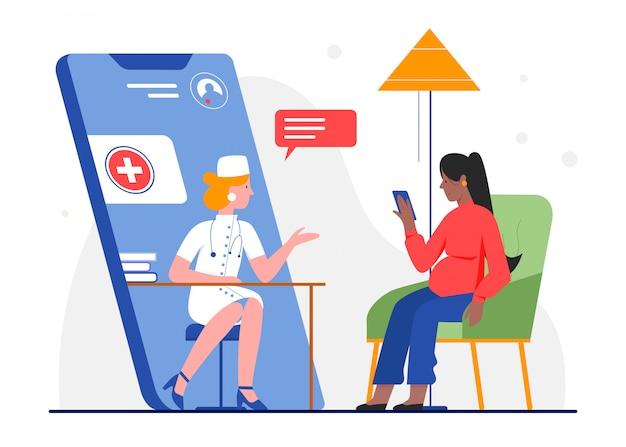 Online zwangere medische raadpleging illustratie. arts stripfiguur raadplegen vrouw patiënt in chat afspraak app via smartphone. zwangerschap geneeskunde gezondheidszorg op wit Premium Vector