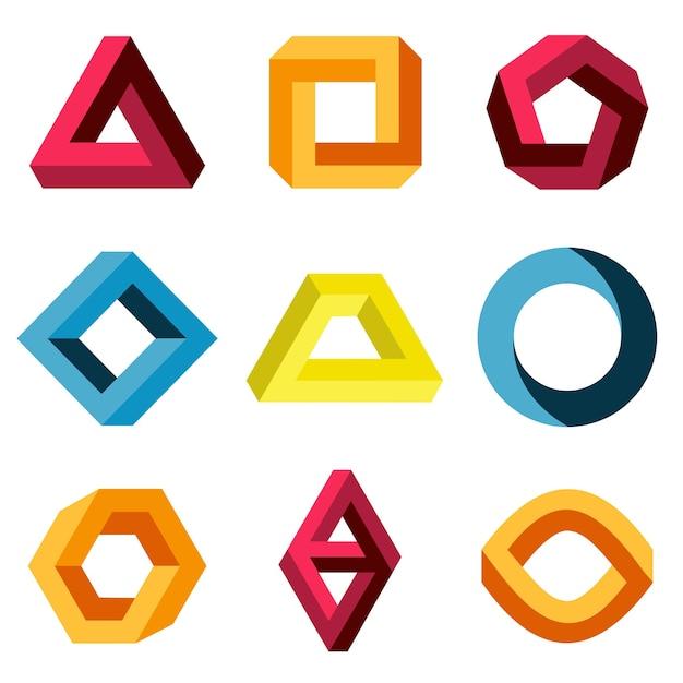 Onmogelijke kleurenset. creatieve figuur bedrijfslogo. vector illustratie Premium Vector