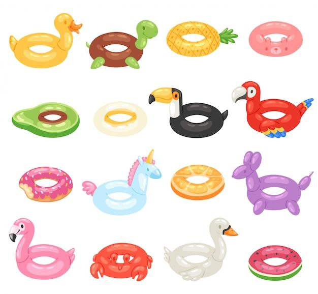 Onopgeblazen opgeblazen zwemmen ring en leven-ring in zwembad voor zomervakantie illustratie set inflatie rubber speelgoed flamingo of donut op witte achtergrond Premium Vector