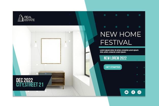 Onroerend goed banner nieuw thuisfestival Premium Vector