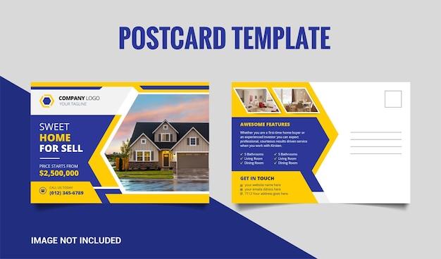 Onroerend goed briefkaart sjabloonontwerp met gele en donkerblauwe vorm premium Premium Vector