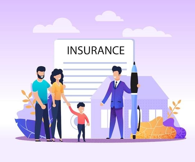 Onroerend goed, huis, verzekeringen voor onroerend goed Premium Vector