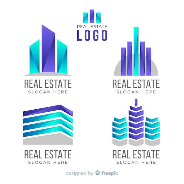 Onroerend goed logo-collectie Gratis Vector