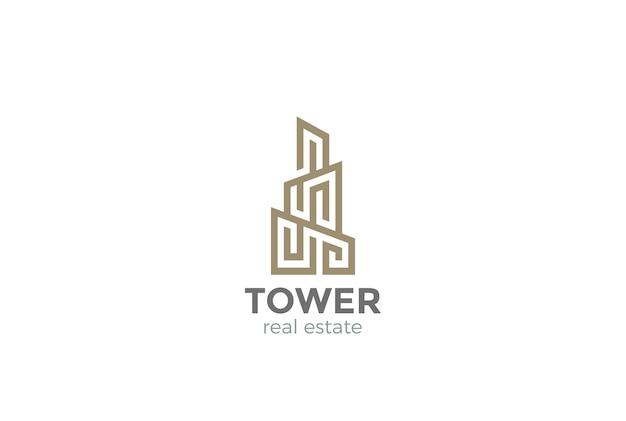 Onroerend goed logo. lineaire stijl Gratis Vector