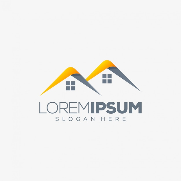 Onroerend goed logo ontwerp Premium Vector