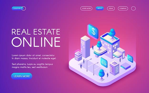 Onroerende goederen online illustratie van slimme stad die met draadloze communicatie wordt verbonden. Gratis Vector
