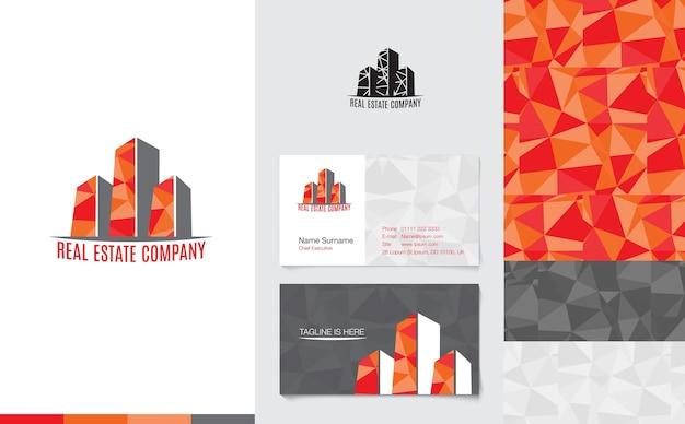 Onroerende goederenembleem met handelsnaamkaart en collectief patroon in moderne lage polystijl, het brandmerken concept Premium Vector