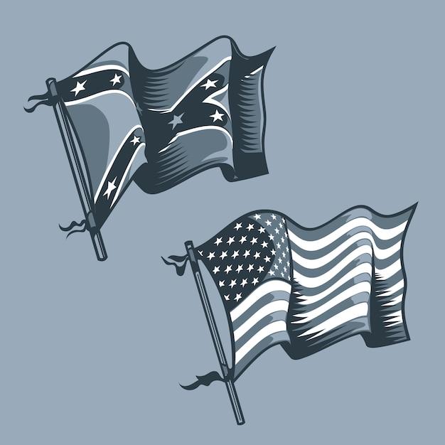 Ons en zuidelijke vlaggen Premium Vector