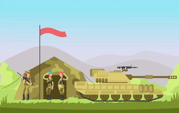 Ons leger soldaat met pistool in uniform. cartoongevecht. militaire achtergrond Premium Vector