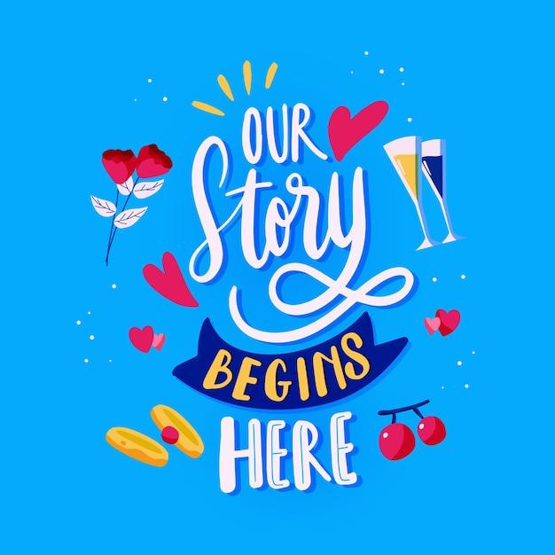 Ons verhaal begint te belettering Gratis Vector