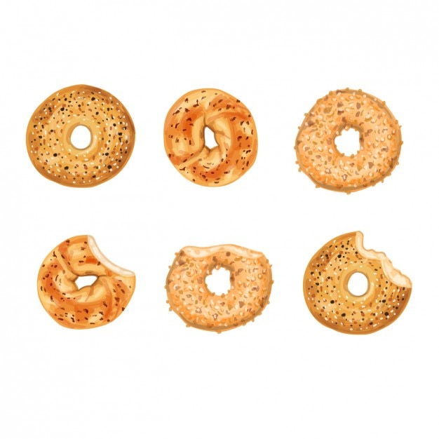 Ontbijt bagles collection Gratis Vector