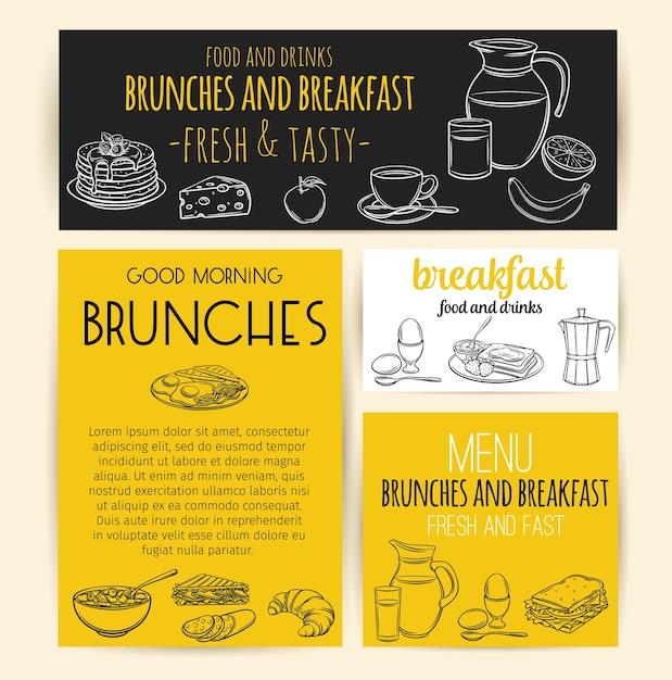 Ontbijt banners. gravure kan met melk, koffiepot, beker, sap, sandwich en gebakken eieren. Premium Vector
