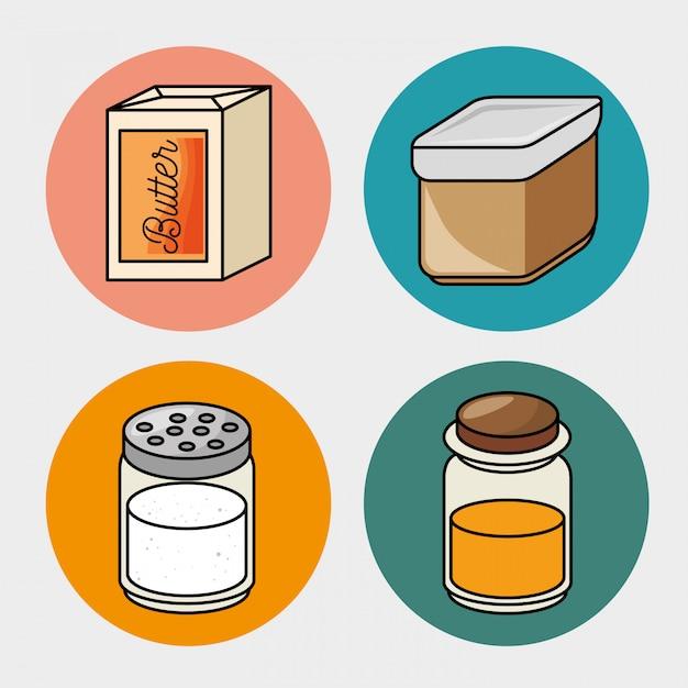Ontbijt boter honing zout pictogrammen Gratis Vector