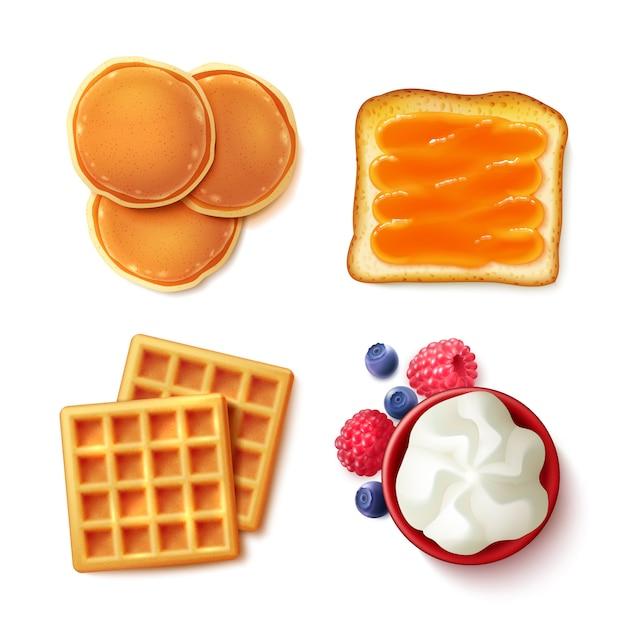 Ontbijt eten 4 items bekijken Gratis Vector
