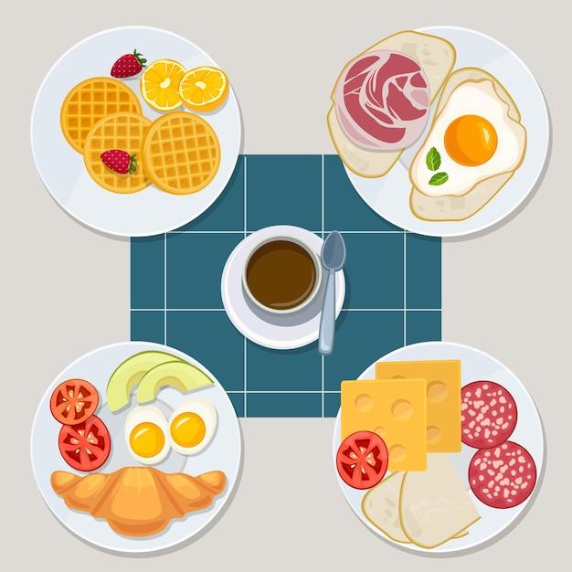 Ontbijt. gezonde alledaagse producten menu croissant pannenkoeken eieren sandwich melksap vector cartoon stijl. illustratie gezonde sandwich, spek en dessert Premium Vector