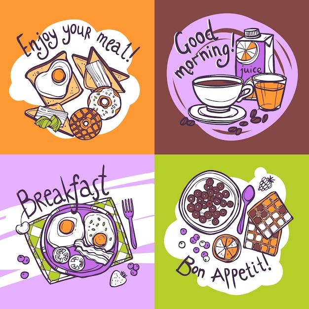 Ontbijt ontwerpconcept Gratis Vector