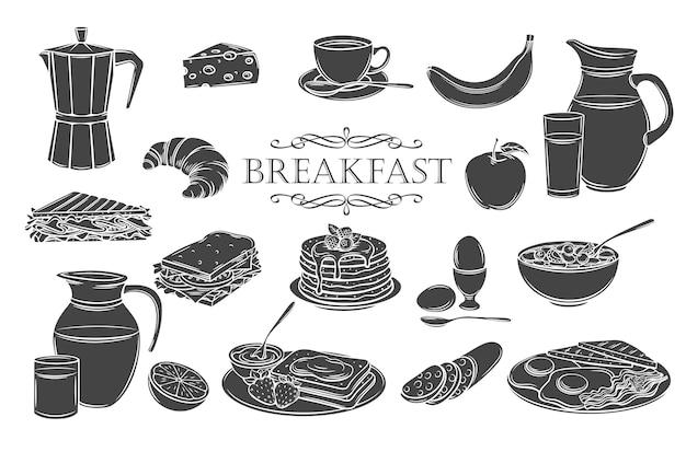 Ontbijt pictogrammen glyph geïsoleerde pictogrammen instellen. kruik melk, koffiepot, beker, sap, sandwich en gebakken eieren. Premium Vector