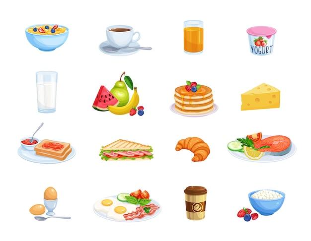 Ontbijt pictogrammen. melk, koffiekopje, sap, fruit, vis, sandwich en gebakken eieren. Premium Vector