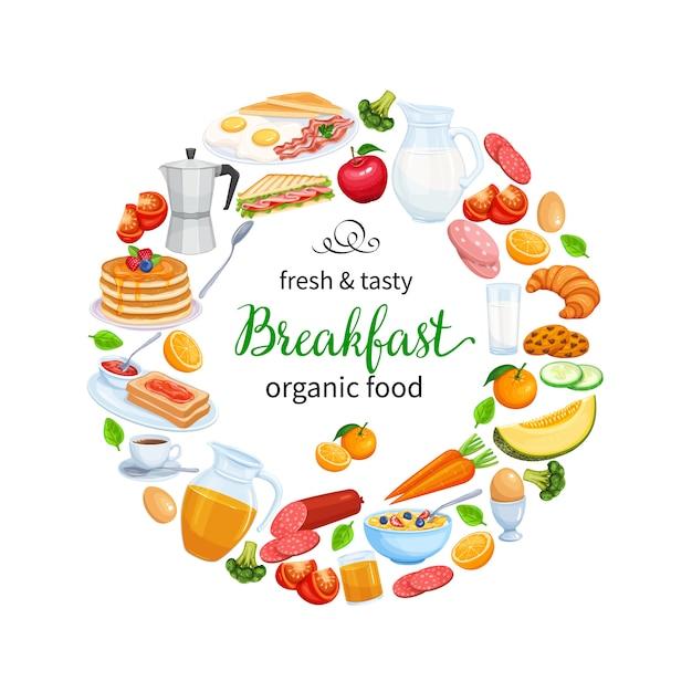 Ontbijt poster food design vector. kruik melk, koffiepot, kop, fruit en groenten. bakken, sinaasappelsap, sandwich en gebakken eieren. pannenkoeken en toast met jam. Premium Vector