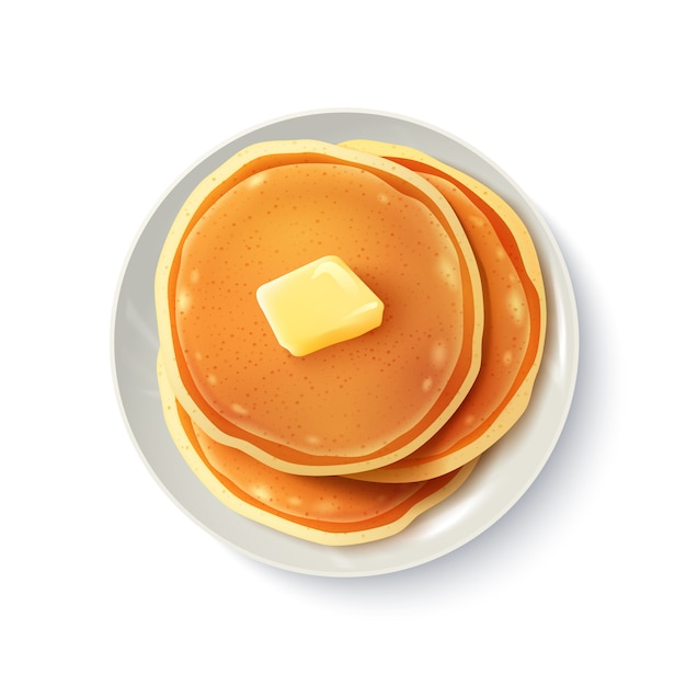 Ontbijt realistische pannenkoeken bovenaanzicht Gratis Vector