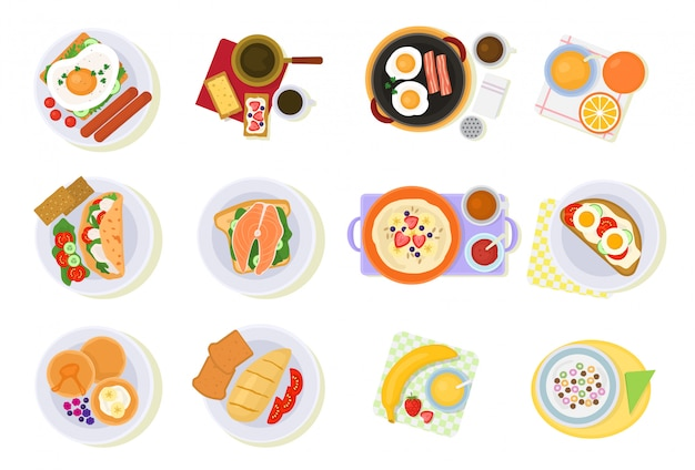 Ontbijt vector koffie en gebakken eieren met croissant en fruit in de ochtend pauze illustratie set van gezond voedsel pap of granen geïsoleerd op wit Premium Vector