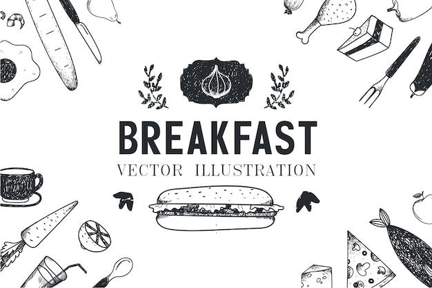 Ontbijt, voedsel hand getrokken illustratie, banner, menudekking, poster. zwart en wit Premium Vector