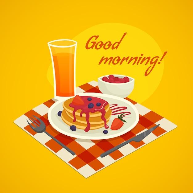 Ontbijtaanmaakconcept met het wensen van de goedemorgen Gratis Vector