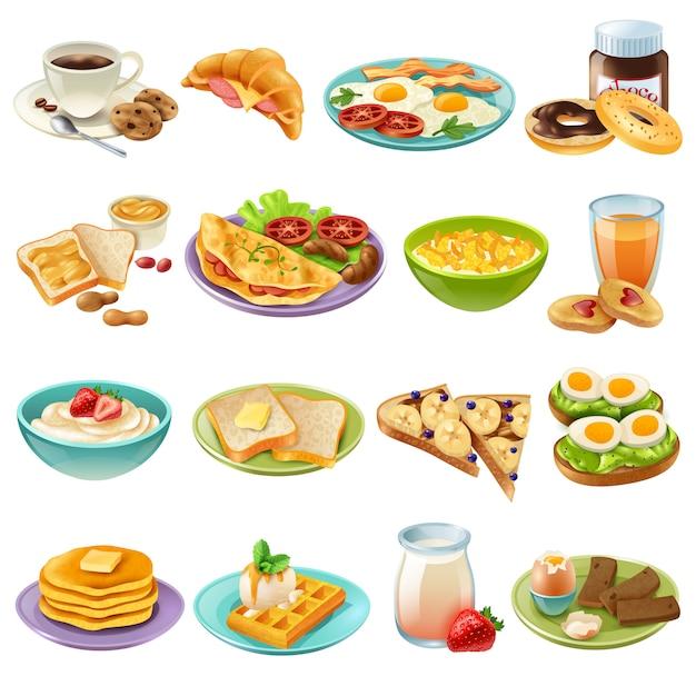 Ontbijtbrunch menu eten icons set Gratis Vector