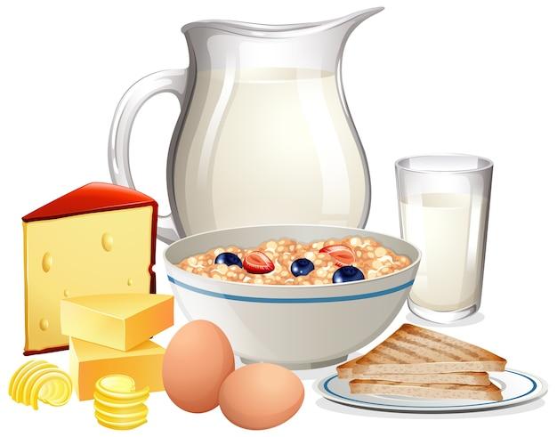 Ontbijtgranen in kom met kruik melk in een groep die op witte achtergrond wordt geïsoleerd Gratis Vector