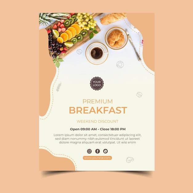 Ontbijtmenu posterontwerp Gratis Vector
