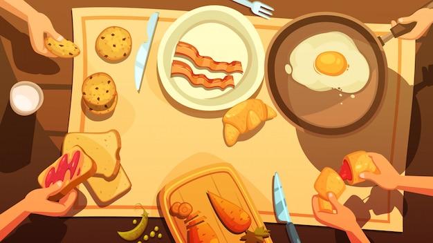 Ontbijttafel bovenaanzicht in landelijke stijl Gratis Vector