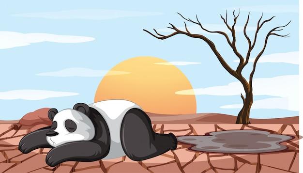 Ontbossingscène met stervende panda Gratis Vector