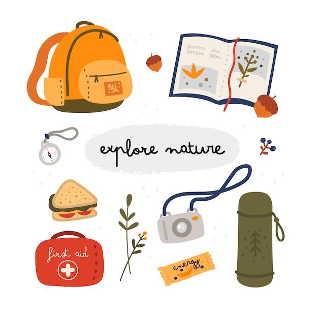 Ontdek de natuurcollectie. toeristische uitrusting in vlakke stijl Premium Vector