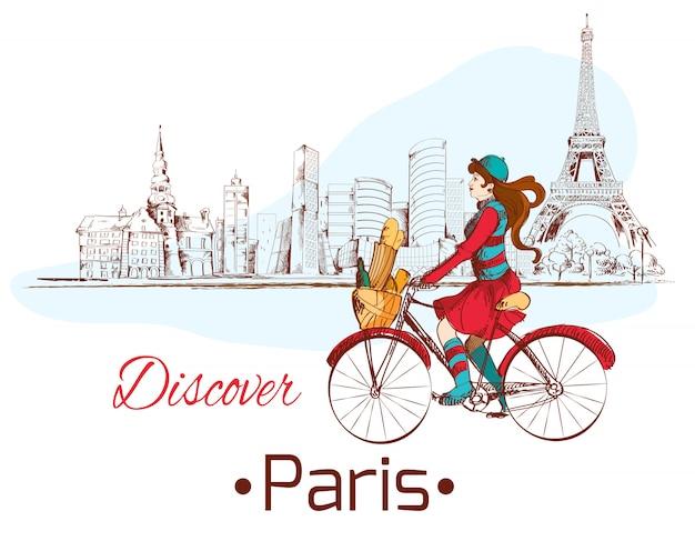Ontdek parijs mooie illustratie met vrouw op de fiets Premium Vector