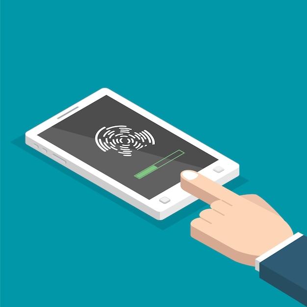 Ontgrendeld met isometrische vingerafdrukknop. toegang via vinger. handen met smartphone. gebruikersautorisatie concept. illustratie. Premium Vector