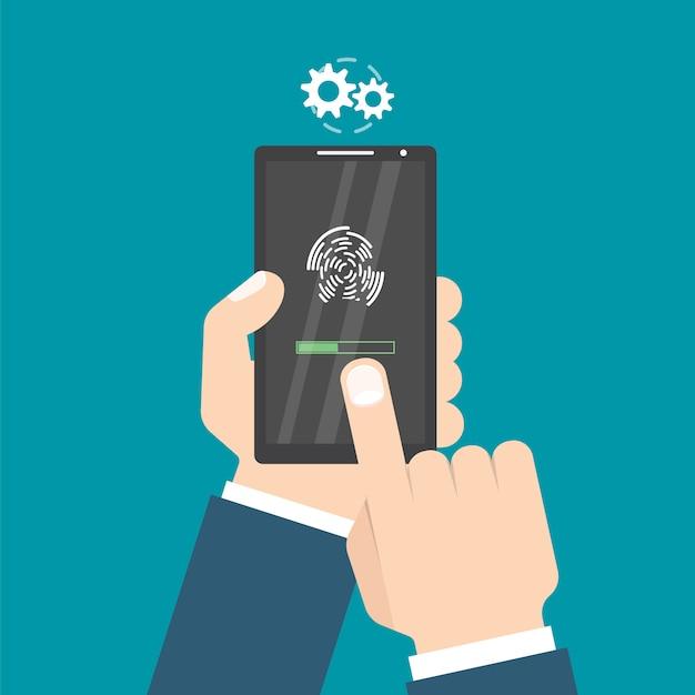 Ontgrendeld met vingerafdrukknop. toegang via vinger. handen met smartphone. gebruikersautorisatie concept. illustratie. Premium Vector